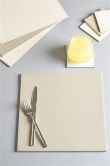 Set Of 8 Square Reversible Faux Leather Table Mats And Coaster Set