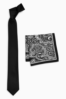 Fine Textured Tie With Black/White Printed Paisley Pocket Square