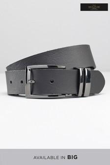Black Leather Gunmetal Keeper  Belt