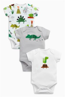 Dinosaur Short Sleeve Bodysuits Three Pack (0mths-2yrs)