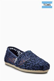 Toms Cadet Blue Lace Leaves Crochet Alpargata Pump