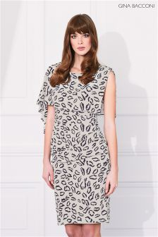 Gina Bacconi Beige Abstract Animal Stretch Georgette Dress