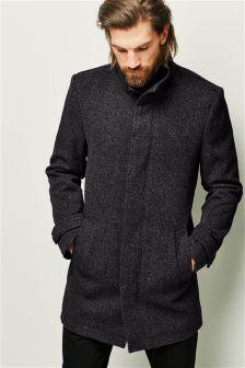 Textured Funnel Neck Coat