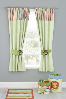 Jungle Brights Pencil Pleat Blackout Lined Curtains
