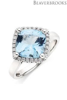 Beaverbrooks 9ct White Gold Blue Topaz Diamond Cocktail Ring