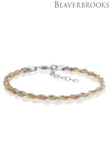 Beaverbrooks Silver, Rose And Yellow Gold Plated Three Colour Twisted Bracelet