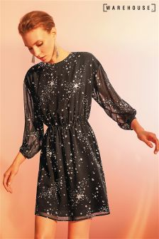 Warehouse Black  Silver Sparkle Star Dress