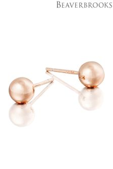 Beaverbrooks Silver Rose Gold Plated Ball Stud Earrings