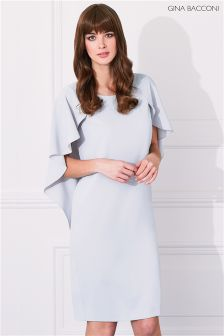 Gina Bacconi Silver Moss Crepe Dress With Cape Detail