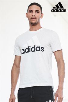 adidas White Melange Stack Logo T-Shirt