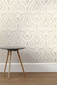 Paste The Wall Pearl Scroll Damask Wallpaper