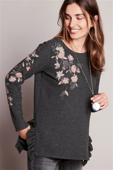 Ruffle Cosy Embroidered Sweater