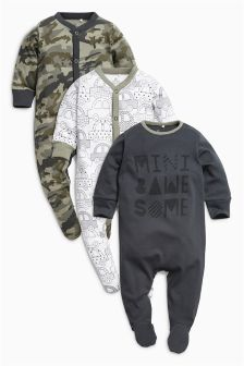 Slogan Sleepsuits Three Pack (0mths-2yrs)