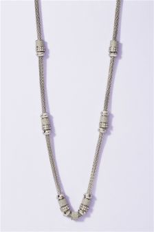 Silver Tone Sparkle Bead Long Necklace