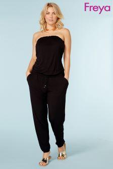 Freya Black Bandeu Strapless Jumpsuit