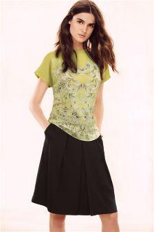 Black Satin Back A-Line Skirt