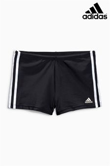adidas 3 Stripe Black Boxer Swim Short