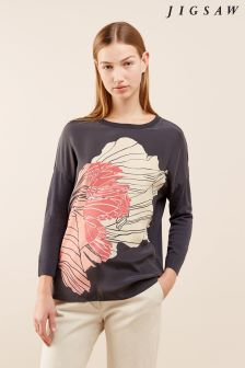 Jigsaw Grey Floating Poppy Silk Front Jumper