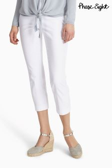 Phase Eight White Halle Crop Trouser