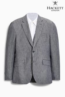 Hackett Grey Delave Linen Herringbone Blazer
