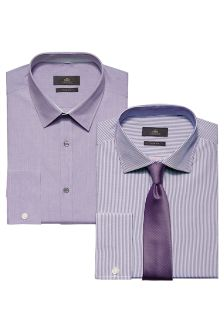 Purple Shirts And Tie Set Two Pack
