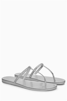 Diamanté Toe Post Sandals