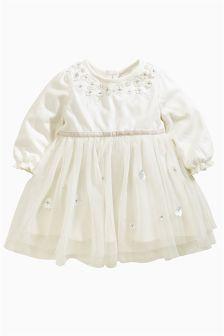 Cream Flower Dress (0-18mths)