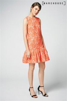 Warehouse Orange Bonded Lace Peplum Dress