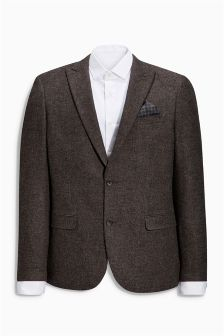 Brown Textured Slim Fit Jacket