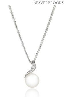 Beaverbrooks Silver Pearl And Cubic Zirconia Pendant