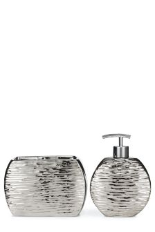 Set Of 2 Textured Chrome Effect Accessories