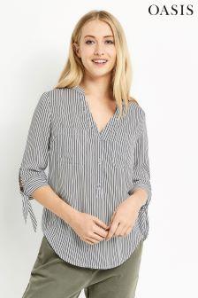 Oasis Multi Tie Sleeve Stripe Shirt