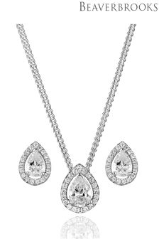 Beaverbrooks Silver Cubic Zirconia Pear Halo Pendant and Stud Earring Set