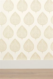 Layered Leaf Gold Wallpaper