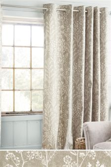 Natural Textured Floral Sprig Print Eyelet Curtains Studio Collection By Next