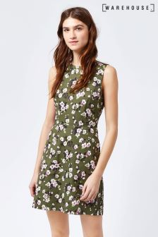 Warehouse Khaki Mae Floral Cotton Shift Dress