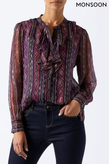 Monsoon Pink Nova Shimmer Ruffle Blouse