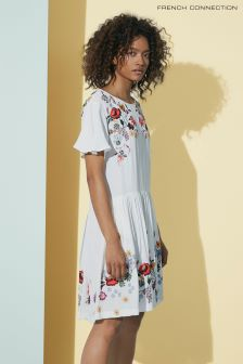 French Connection White Alice Drape Dress