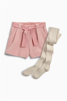 Textured Shorts With Tights (3-16yrs)