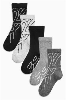 Text Socks Five Pack (Older Boys)