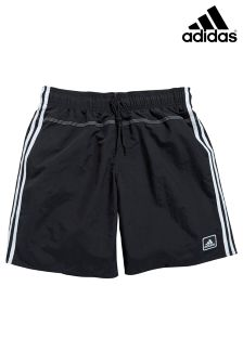 adidas Black 3 Stripe Aqua Swim Short