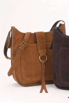 Suede Large Saddle Bag