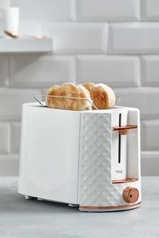 White Facet 2 Slice Toaster