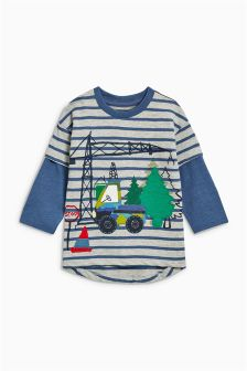 Skater Sleeve Digger T-Shirt (3mths-6yrs)