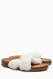 Faux Fur Twist Slider Slippers