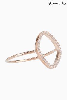 Accessorize Clear Rose Gold Organic Shape Ring