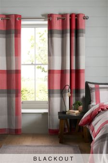 Red Check Blackout Lined Eyelet Curtains
