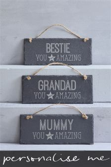 Real Slate Personalised Hanging Sign Gift By Loveabode