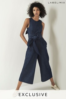 Mix/Isa Arfen Belted Tie Back Jumpsuit