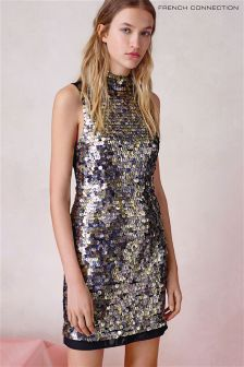 French Connection Bronze Moon Rock Sparkle High Neck Dress
